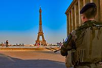 Paris , France - April 24 , 2020 :  Paris military soldier conter terrosrism operation watching trocadero square  during lock down coronavirus covid-19 quarantine