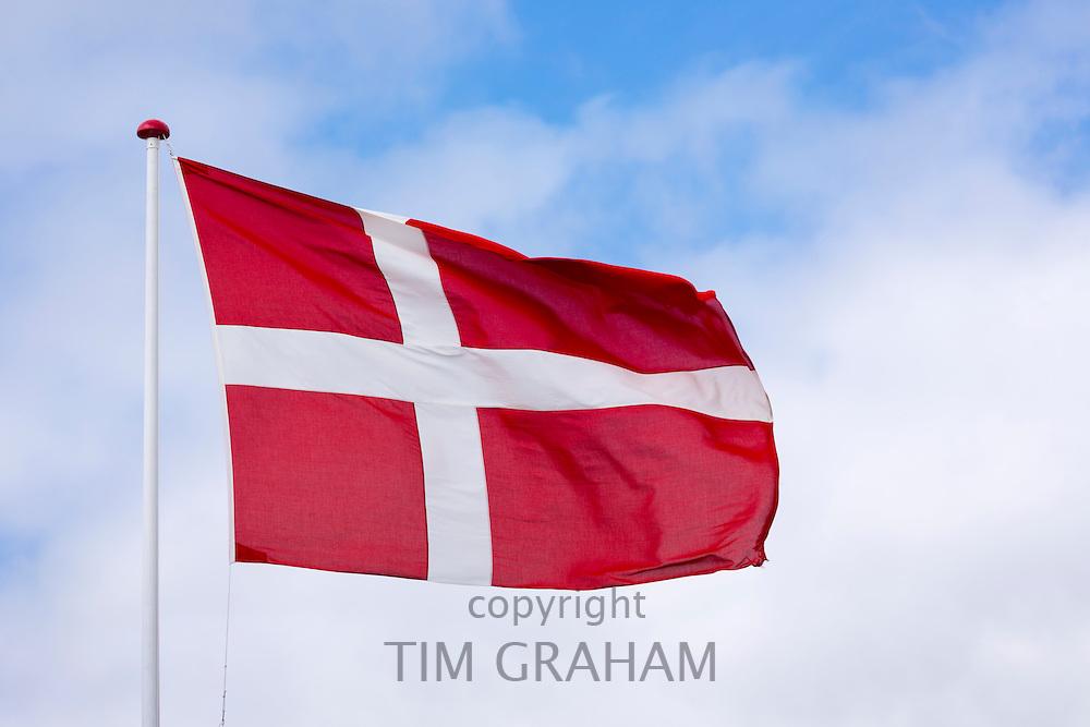 Danish flag on flagpole in Denmark
