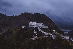 """THEMENBILD - die Festung Hohenwerfen. Sie ist eine mittelalterliche Höhenburg im Salzburger Land zwischen Tennen-, Hagengebirge und Hochkönig im Salzachtal und ist in ihrer Anlage mit der Festung Hohensalzburg vergleichbar, die in denselben Jahren erbaut wurde, aufgenommen am 05. Mai 2019 in Werfen, Oesterreich // the Hohenwerfen Castle. The fortress is surrounded by the Berchtesgaden Alps and the adjacent Tennen Mountains. Hohenwerfen is a """"sister"""" of Hohensalzburg Fortress, both built by the Archbishops of Salzburg in the 11th century in Werfen, Austria on 2019/05/05. EXPA Pictures © 2019, PhotoCredit: EXPA/ JFK"""