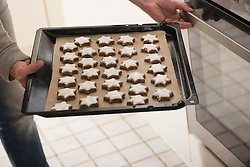 Woman inserting baking tray of cinnamon stars in oven for baking, Munich, Bavaria, Germany