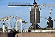 Nederland, Heusden, 18-10-2014De toegang tot het historische haventje van dit vestingstadje aan de Maas. Er ligt een ophaalbrug over de ingang en twee molens van de drie walmolens die nog op de vestingwallen van de Nederlandse stad Heusden staan zijn te zien.FOTO: FLIP FRANSSEN/ HOLLANDSE HOOGTE