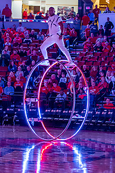 NORMAL, IL - February 26: Cornell Freeney performs on the German Wheel at half time during a college basketball game between the ISU Redbirds and the Bradley Braves on February 26 2020 at Redbird Arena in Normal, IL. (Photo by Alan Look)