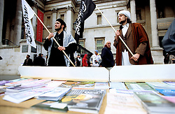 LONDON'S TRAFALGAR SQUARE, 11 February 2006.Over 5,000 UK Muslims demonstrate against incitement & Islamophobia following the controversial cartoons of the Prophet Muhammad (PBUH) published in a Danish newspaper which led to worldwide protests..The event was organised by the Muslim Council of Britain and the Muslim Association of Britain, with the backing of a number of  peace organisations and the Mayor of London.