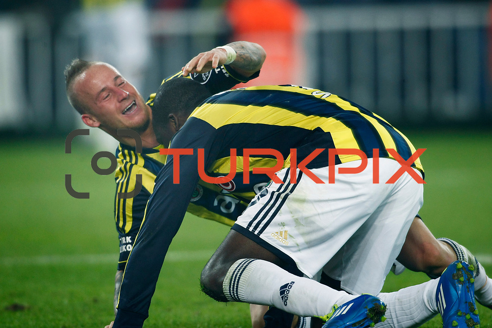 Fenerbahce's Moussa Sow celebrate his goal with team mate during their Turkish superleague soccer derby match Fenerbahce between Besiktas at Sukru Saracaoglu stadium in Istanbul Turkey on Sunday 05 February 2012. Photo by TURKPIX