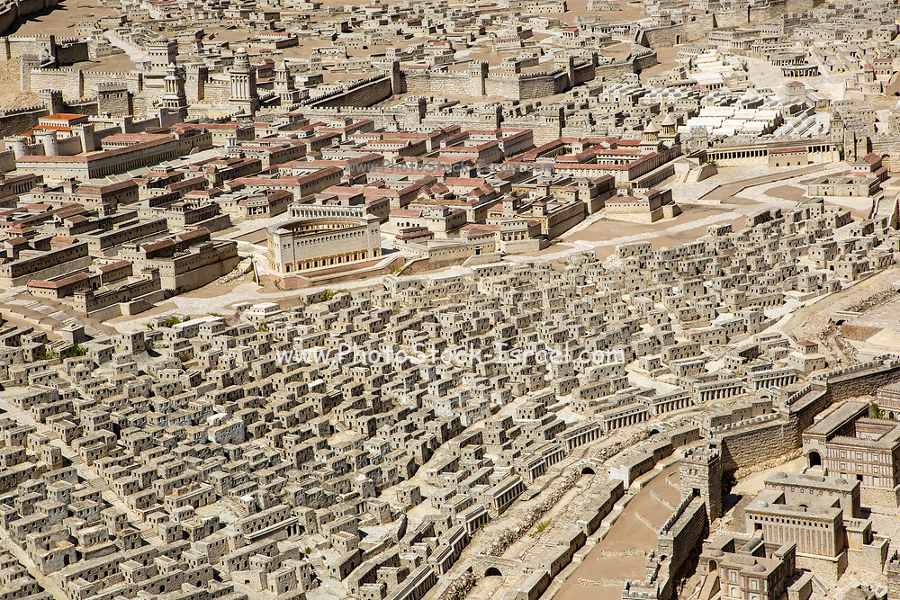 Israel, Jerusalem, Israel Museum. Model of Jerusalem in the late Second Temple period 66CE scale of 1:50.