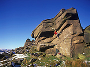 Ben Bransby climbing Groove is in the heart, E7 7a, Stanage