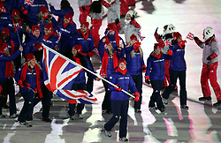 Great Britain's flag bearer Lizzy Yarnold leads out her team during the Opening Ceremony of the PyeongChang 2018 Winter Olympic Games at the PyeongChang Olympic Stadium in South Korea.