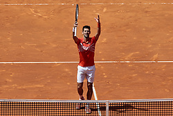 May 9, 2019 - Madrid, Madrid, Spain - Novak Djokovic seen in action during the Mutua Madrid Open Masters match on day 7 at Caja Magica in Madrid. (Credit Image: © Legan P. Mace/SOPA Images via ZUMA Wire)