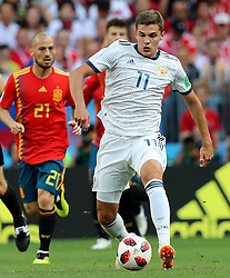 MOSCOW, July 1, 2018  Roman Zobnin (R) of Russia controls the ball during the 2018 FIFA World Cup round of 16 match between Spain and Russia in Moscow, Russia, July 1, 2018. (Credit Image: © Yang Lei/Xinhua via ZUMA Wire)