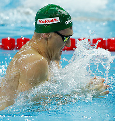 HANGZHOU, Dec. 12, 2018  Cameron van der Burgh of South Africa competes during Men's 100m Breaststroke Final at 14th FINA World Swimming Championships (25m) in Hangzhou, east China's Zhejiang Province, on Dec. 12, 2018. Cameron van der Burgh claimed the title with 56.01 seconds. (Credit Image: © Xinhua via ZUMA Wire)