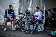 #6 (EVANS Kyle) GBR talking to his coach (Marcus Bloomfield) at Round 6 of the 2019 UCI BMX Supercross World Cup in Saint-Quentin-En-Yvelines, France