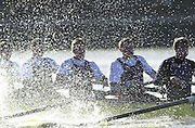 ©  SportsBeat Images  020 8 876 8611<br /> email images@sportsbeat.co.uk<br /> University of London Trail Eights<br /> 14/02/2002<br /> Putney to Mortlake<br /> 'A splashy affair'  UL crew (Honour) drive through the rough water on the Hammersmith Reach.        [Mandatory Credit:Peter SPURRIER/Intersport Images]