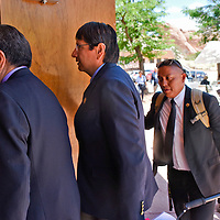 President Russell Begaye and Vice President Jonathan Nez enter the Council Chambers to deliver the State of the Nation Address during the 23rd Navajo Nation Council Summer Session on Monday in Window Rock .