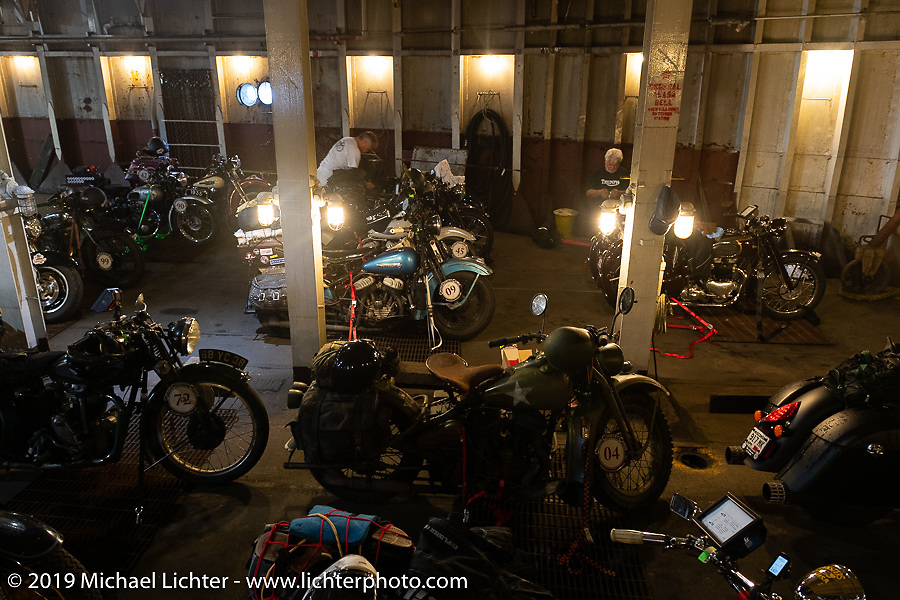 Antique bikes in the hold of the SS Badger Lake Michigan ferry boat during the Cross Country Chase motorcycle endurance run from Sault Sainte Marie, MI to Key West, FL (for vintage bikes from 1930-1948). Stage 2 from Ludington, MI to Milwaukee, WI, USA. Saturday, September 7, 2019. Photography ©2019 Michael Lichter.