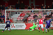 East Thurrock forward Reece Harris (10) scores a penalty 0-1 during the Vanarama National League South match between Ebbsfleet United and East Thurrock United at the Enclosed Ground, Whitehawk, United Kingdom on 4 March 2017. Photo by Jon Bromley.