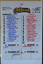 04 August 2018: Line Up. Legends Game for the Miracle League at Corn Crib Stadium on the campus of Heartland Community College in Normal Illinois<br /> <br /> Game featured retired MLB players from the ST. Louis Cardinals and the Chicago Cubs...  Derek Lee, Bobbie Dernier, Kyle Farnsworth, Les Lancaster, Ray Lankford, Kerry Robinson, Jim Edmonds, and Aramis Ramirez