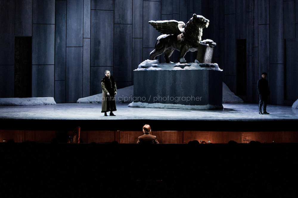 """ROME, ITALY - 12 MARCH 2013: Music director Riccardo Muti, 71, directs the first act of  """"I Due Foscari"""", an opera in three acts by Giuseppe Verdi, at the Teatro dell'Opera in Rome, Italy, on March 12, 2013... Riccardo Muti, Music Director of the Chicago Symphony Orchestra, has accepted the title of Honorary Director for Life of the Teatro dell'Opera in Rome...Gianni Cipriano for The New York Times"""