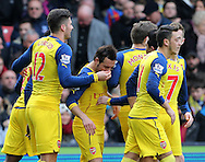 Arsenal's Santi Cazorla celebrates scoring his sides opening goal as Olivier Giroud holds his nose<br /> <br /> Barclays Premier League - Crystal Palace  vs Arsenal  - Selhurst Park - England - 21st February 2015 - Picture David Klein/Sportimage
