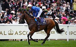 Promising Sun ridden by Jockey Christophe Soumillon goes to post for the Duke Of Cambridge Stakes