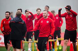 Wayne Rooney of Manchester United leads the warm up - Mandatory byline: Matt McNulty/JMP - 07966386802 - 02/11/2015 - FOOTBALL - Aon Training Complex -Manchester,England - UEFA Champions League