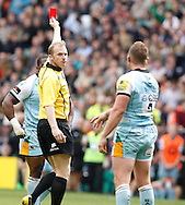 Picture by Andrew Tobin/Focus Images Ltd +44 7710 761829.25/05/2013. Dylan HARTLEY (capt) of Northampton is sent off by referee Wayne Barnes at the end of the 1st half during the Aviva Premiership match at Twickenham Stadium, Twickenham.