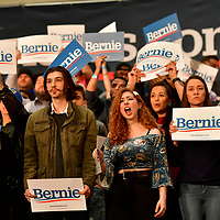 SIOUX CITY, IA - Supporters cheer during a rally for Democratic Presidential hopeful Bernie Sanders with Rep. Alexandria Ocasio-Cortez and Michael Moore on January 26, 2020 in Sioux City, IA.  Sanders is holding three events across Iowa today. CREDIT:  Mark Makela for The New York Times