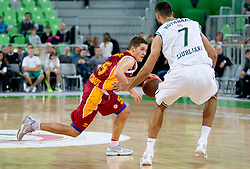 Jaka Lakovic of Galatasaray Medical Park vs Robert Rothbart of Union Olimpija during basketball match between KK Union Olimpija and Galatasaray Medical Park (TUR) of 4th Round in Group D of Regular season of Euroleague 2011/2012 on November 9, 2011, in Arena Stozice, Ljubljana, Slovenia. Galatasaray defeated Union Olimpija 79-70. (Photo by Vid Ponikvar / Sportida)