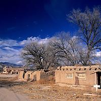 USA, New Mexico, Santa Fe. Dwellings at San Ildefonso Pueblo.