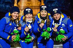 March 16, 2019 - –Stersund, Sweden - 190316 Anastasiya Merkushyna, Vita Semerenko, Yuliia Dzhima and Valj Semerenko of Ukraine celebrate during the medal ceremony for the Women's 4x6 km Relay during the IBU World Championships Biathlon on March 16, 2019 in Östersund..Photo: Petter Arvidson / BILDBYRÃ…N / kod PA / 92270 (Credit Image: © Petter Arvidson/Bildbyran via ZUMA Press)