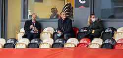 NEWPORT, WALES - Thursday, October 22, 2020: Football Association of Wales Chief Executive Jonathan Ford, FAW Trust CEO Dave Adams and Lowri Roberts during the UEFA Women's Euro 2022 England Qualifying Round Group C match between Wales Women and Faroe Islands Women at Rodney Parade. Wales won 4-0. (Pic by David Rawcliffe/Propaganda)