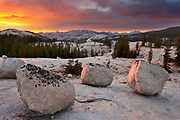 Boulders at Sunset near Tuolumne Meadws, Yosemite National Park, California