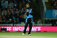 Moeen Ali of Worcestershire Rapids celebrates the wicket of David Wiese during the final of the Vitality T20 Finals Day 2018 match between Worcestershire Rapids and Sussex Sharks at Edgbaston, Birmingham, United Kingdom on 15 September 2018.