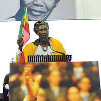 KHAYELITSHA, SOUTH AFRICA - Monday 9 December 2013, the City of Cape Town hosted an Evening of Remembrance at the OR Tambo hall, Khayelitsha. for the late former President of South Africa, Nelson Mandela. Rastafarian CONGO ENOCH, addresses the crowd.<br /> Photo by Roger Sedres/ImageSA