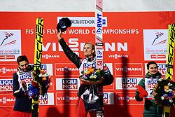 January 20, 2018 - Oberstdorf, GERMANY - 180120 Daniel-André Tande of Norway celebrates at the podium after winning the FIS Ski Flying World Championships on January 20, 2018 in Oberstdorf..Photo: Vegard Wivestad Grøtt / BILDBYRÃ…N / kod VG / 170080 (Credit Image: © Vegard Wivestad GrØTt/Bildbyran via ZUMA Wire)