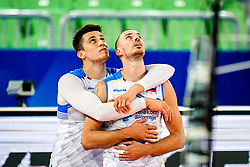 Klemen Cebulj of Slovenia and Alen Pajenk of Slovenia during volleyball match between Cuba and Slovenia in Final of FIVB Volleyball Challenger Cup Men, on July 7, 2019 in Arena Stozice, Ljubljana, Slovenia. Photo by Matic Klansek Velej / Sportida