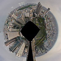 Little Planet View (360 degrees) of the Tokyo Skyline from the 47th floor South Tower Observatory in the Metropolitan Government Building. Composite of 51 images taken with a Leica CL camera and 11-23 mm lens (ISO 200, 18 mm, f/16, 1/125 sec). Raw images processed with Capture One Pro and AutoPano Giga Pro.