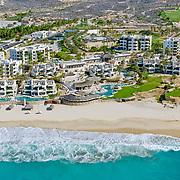 Aerial view of The Rosewood hotel Ventanas al Paraiso. Los Cabos. Baja California Sur, Mexico.