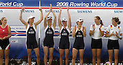 Poznan, POLAND,  GBR LW4X, Gold Medalist,  left to right, Jane HALL, Laura GREENHALGH, Andrea DENNIS and Sophie HOSKING, at the 2008 FISA World Cup. Rowing Regatta. Malta Rowing Course on Saturday, 21/06/2008. [Mandatory Credit:  Peter SPURRIER / Intersport Images] Rowing Course:Malta Rowing Course, Poznan, POLAND