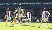 Preston North End's Jordan Storey fails to get his header on target surrounded by the West Bromwich Albion defence <br /> <br /> Photographer Stephen White/CameraSport<br /> <br /> The EFL Sky Bet Championship - West Bromwich Albion v Preston North End - Saturday 13th April 2019 - The Hawthorns - West Bromwich<br /> <br /> World Copyright © 2019 CameraSport. All rights reserved. 43 Linden Ave. Countesthorpe. Leicester. England. LE8 5PG - Tel: +44 (0) 116 277 4147 - admin@camerasport.com - www.camerasport.com