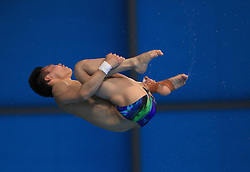 © Licensed to London News Pictures. London, UK. 27/04/2014. London, UK.  Chinese  AISEN CHEN at the FINA Diving World Series final at the Aquatics Centre, Queen Elizabeth Olympic Park. Photo credit: LNP