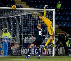 Ayr United's keeper Ross Doohan can't save Falkirk's Jordan McGhee first goal. Falkirk 2 v 0 Ayr United, Scottish Championship game played 8/3/2019 at The Falkirk Stadium.