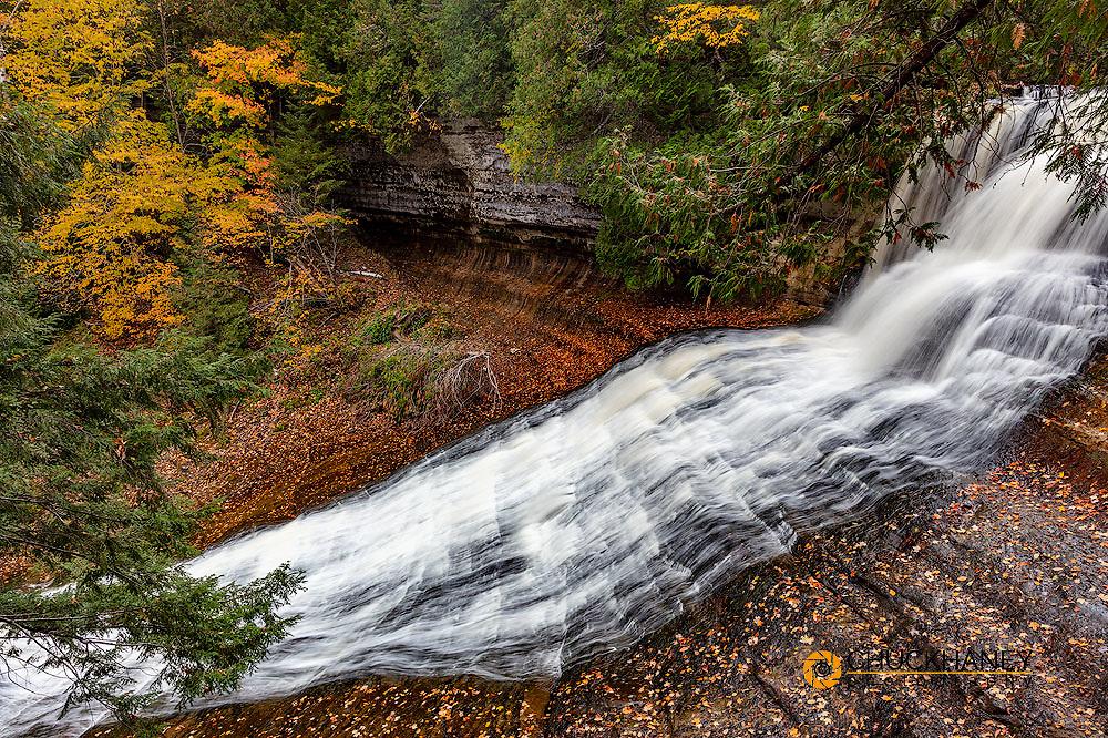 Waterfalls in autumn at Laughing Whitefish Falls State Park, Michigan, USA
