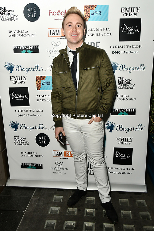 John Galea Arrivers at Nina Naustdal catwalk show SS19/20 collection by The London School of Beauty & Make-up at Bagatelle on 26 Feb 2019, London, UK.