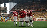 Photo: Paul Thomas.<br />Watford v Manchester United. The FA Cup, Semi Final. 14/04/2007.<br /><br />Kieran Richardson (23) and Man Utd celebrate his goal.