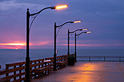 The St. Simons Public Pier at dawn along the Saint Simons Sound in St. Simons Island, Georgia.
