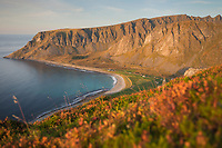 Colorful autumn landscape over Unstad beach, Vestvågøy, Lofoten Islands, Norway