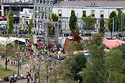21/07/2018 repro free:  The Galway International Arts Festival Continues til the 29th of July , the Festival Garden continue till the end of the festival , FYI<br /> 21/07/2018 repro free:  <br /> <br /> The People Build at Galway International Arts Festival saw not just one but two large-scale structures appear in a matter of hours built solely from cardboard. Under the guidance of French artist, Olivier Grossetete and his team, The People Build saw over 600 volunteers and members of the general public transform cardboard boxes into a church steeple and a bridge. This spectacular architectural event won the hearts of festival audiences and encouraged a sense of community where everyone could get involved. The structure built at Eyre Square was inspired by St. Nicholas' Church in Galway and the bridge at Waterside was positioned at the location of Galway's River Corrib Viaduct, once part of the famous Galway to Clifden Railway.<br /> <br /> It is estimated that almost 4 tonnes of cardboard were used across the two builds. Following the constructions, children and grown-ups alike joined forces in a massive celebratory demolition, which saw the cardboard structures come tumbling down amidst shrieks of joy and delight.<br /> <br /> Walsh Waste & Recycling have once again joined forces with Galway International Arts Festival to ensure there was no unnecessary waste following the event and were on hand to take away the crushed cardboard to be recycled. Photo:Andrew Downes, xposure