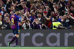 May 1, 2019 - Barcelona, Catalonia, Spain - May 1, 2019 - Barcelona, Spain - Uefa Champions League 1/2 of final second leg, FC Barcelona v Liverpool FC: Luis Suarez of FC Barcelona celebrates the 1-0. (Credit Image: © Marc Dominguez/ZUMA Wire)