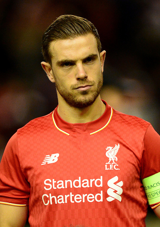 Liverpool's Jordan Henderson looks on prior to the match<br /> <br /> Photographer Richard Martin-Roberts/CameraSport<br /> <br /> Football - UEFA Europa League Round of 32 - Liverpool v Augsburg - Thursday 25th February 2016 - Anfield - Liverpool<br /> <br /> © CameraSport - 43 Linden Ave. Countesthorpe. Leicester. England. LE8 5PG - Tel: +44 (0) 116 277 4147 - admin@camerasport.com - www.camerasport.com