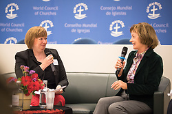 18 September 2017, Geneva, Switzerland: A talkshow format presents a range of programmes and activities of the World Council of Churches, at the Ecumenical Centre in Geneva where the WCC hosts a meeting of member churches' Ecumenical Officers. Here, interview with Elaine Dykes.